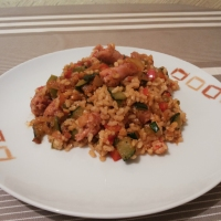 Arroz integral con verduras y toque arabe.