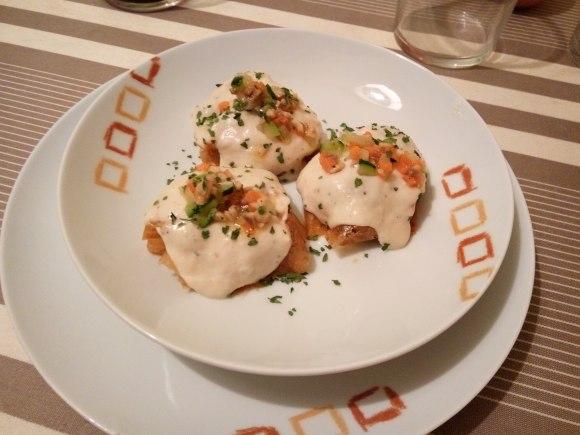Falsos rabiolis de manzana y pollo