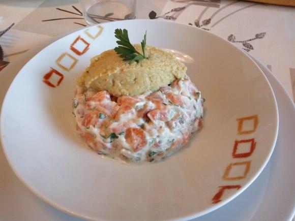 Tartar de salmon con guacamole