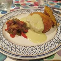Falafel con piperrada y salsa de brocoli